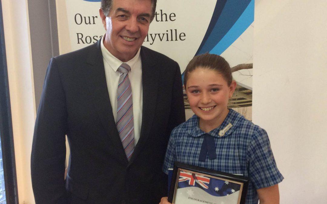 Presenting Charli Orsini her 2015 Ray Williams Encouragement Award