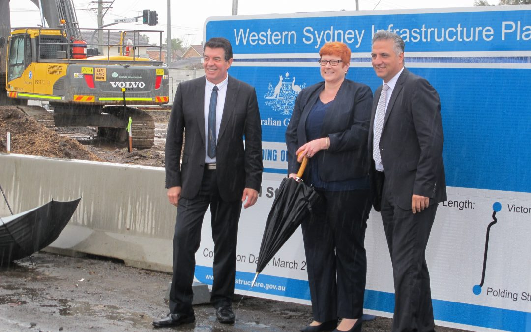 Inspecting Wetherill Street upgrades as part of the Government's Local Roads Package.